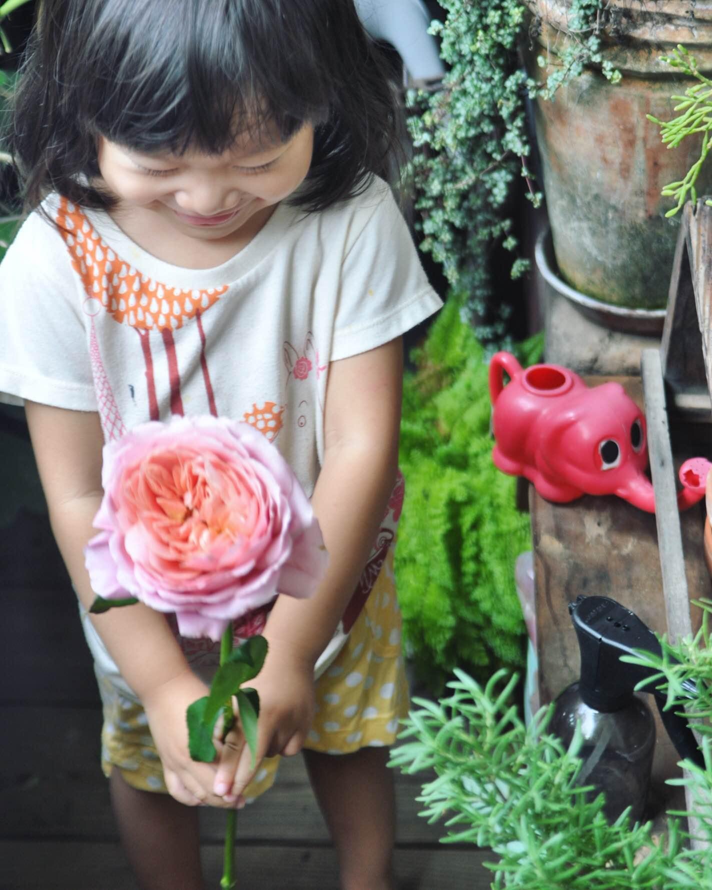 小女兒耳濡目染,常有模有樣的跟著茉莉紮花束。圖片由茉莉花園提供