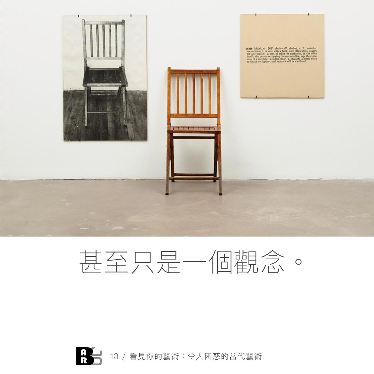科史士(Joseph Kosuth),《一與三張椅子》,1965。