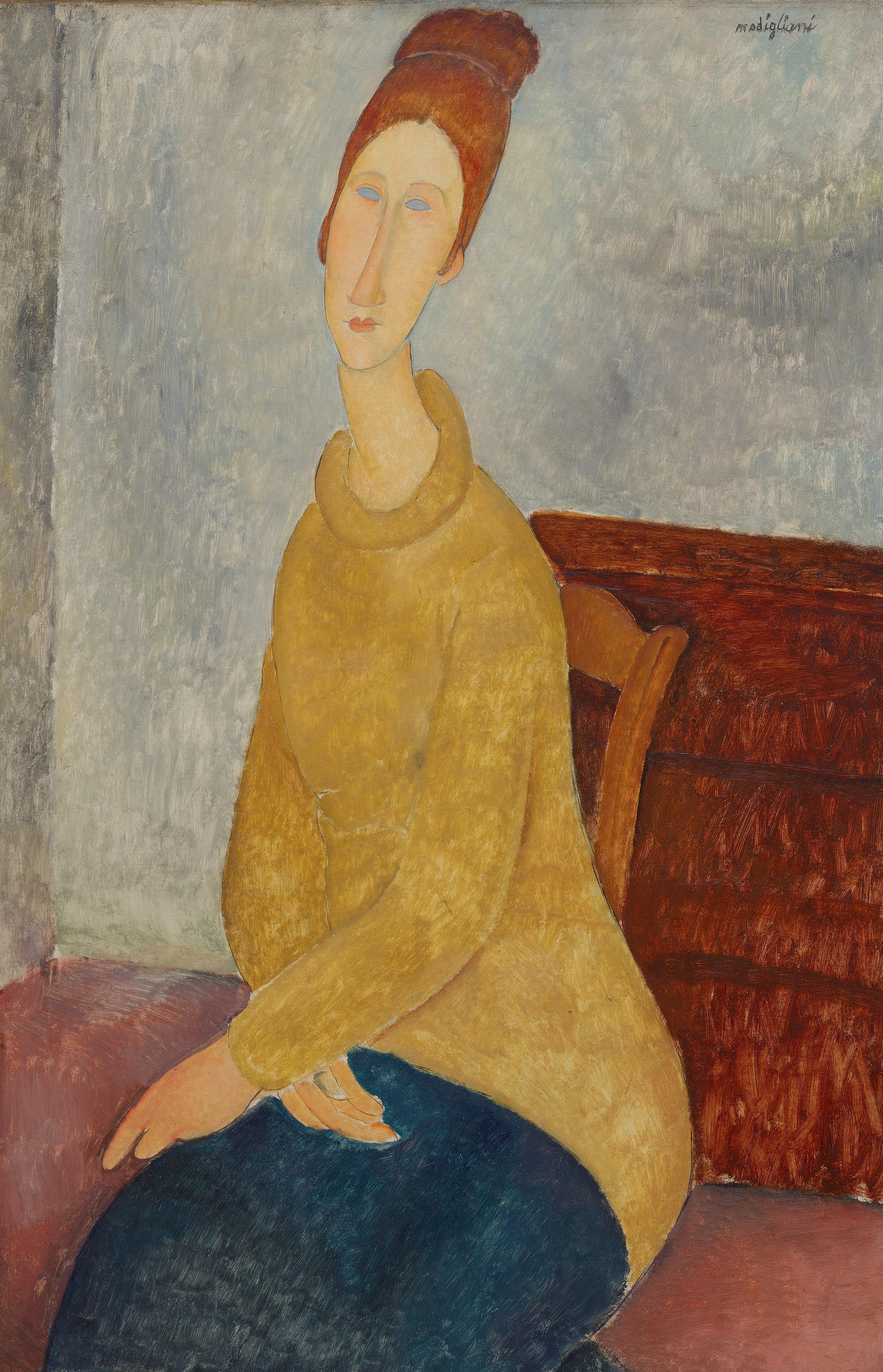 莫迪里亞尼,《黃色毛衣的蔣妮.艾必丹納》,1920。