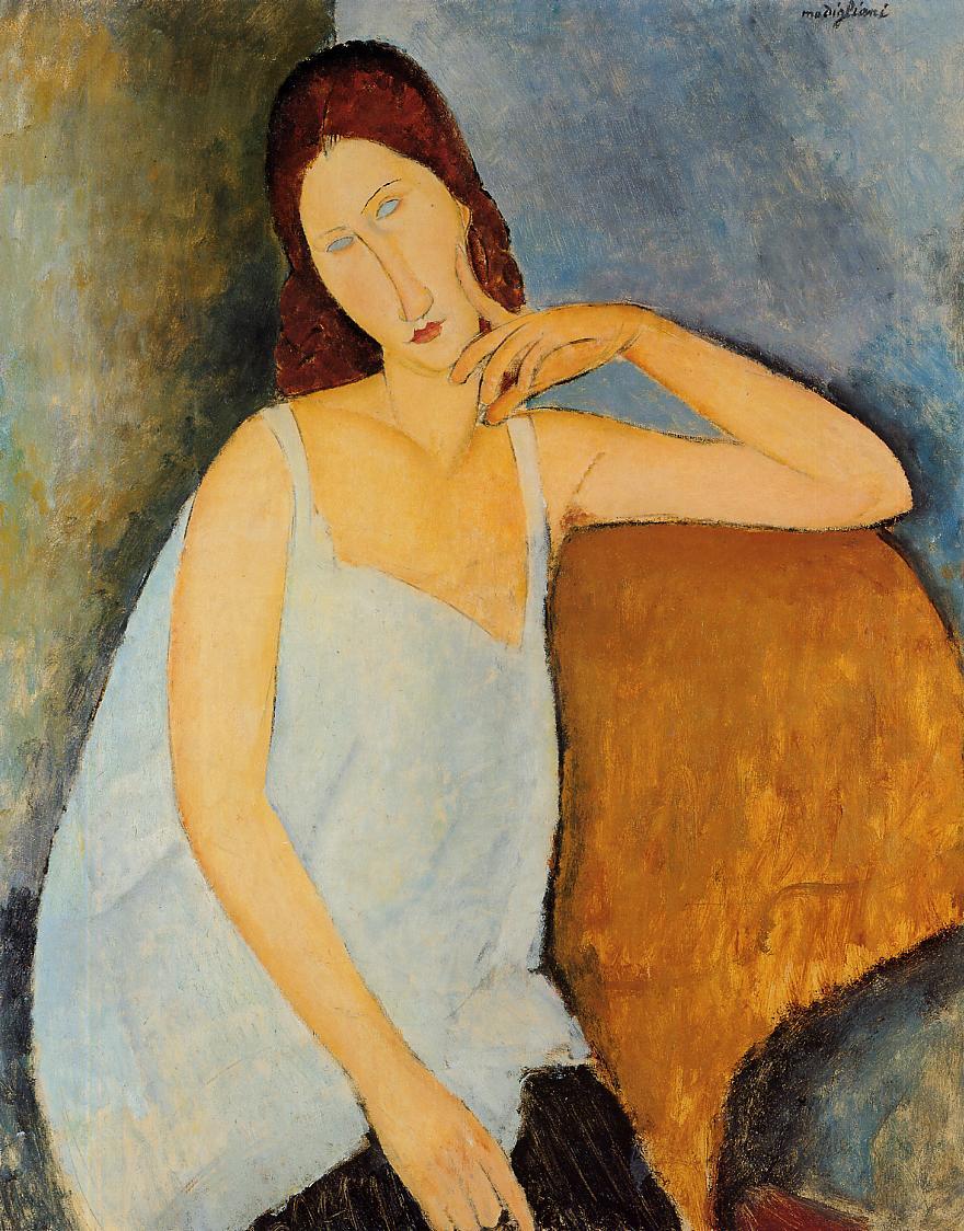 莫迪里亞尼,《蔣妮.艾必丹納》,1919。