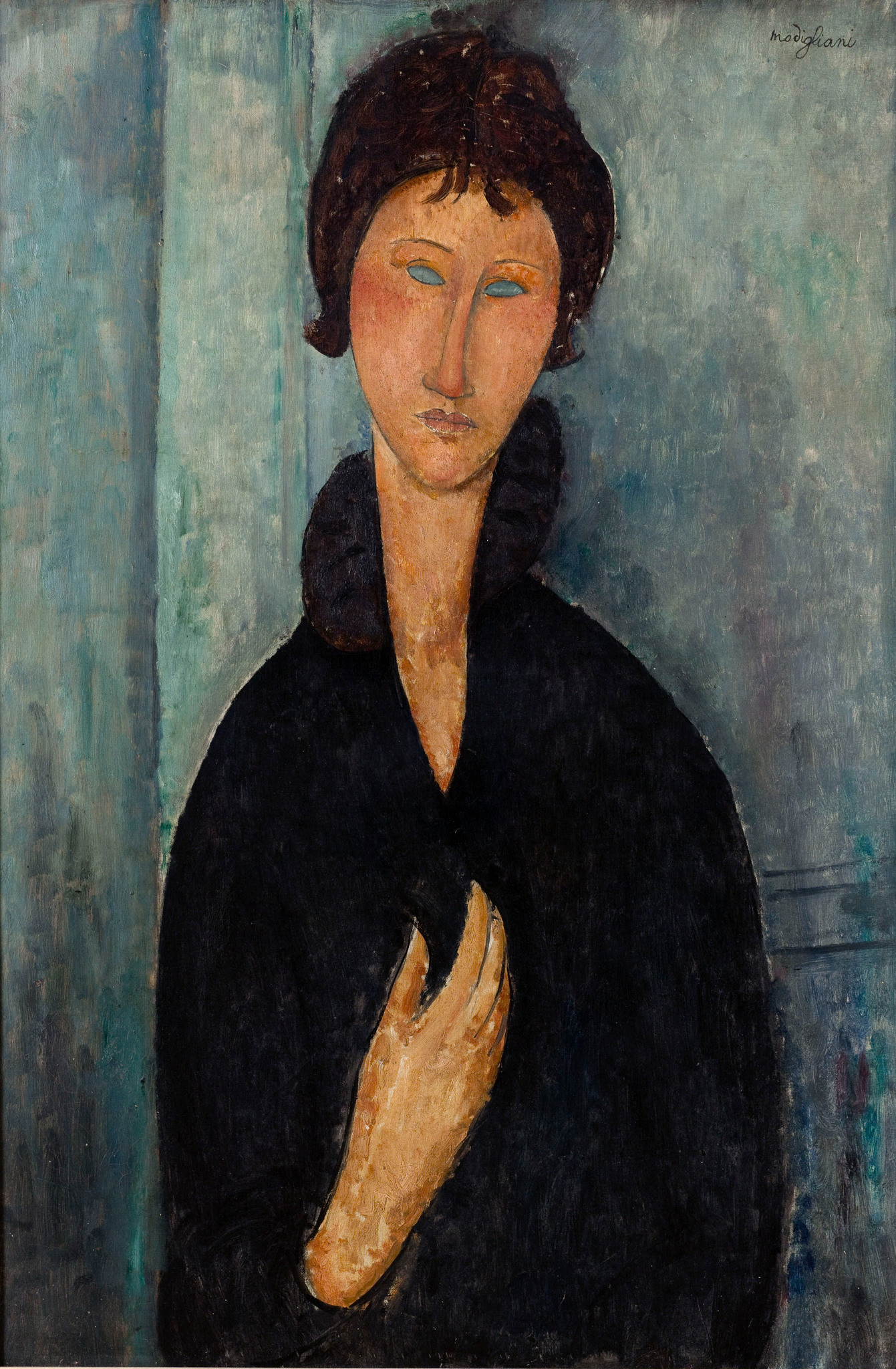 莫迪里亞尼,《藍眼女子》,1920。