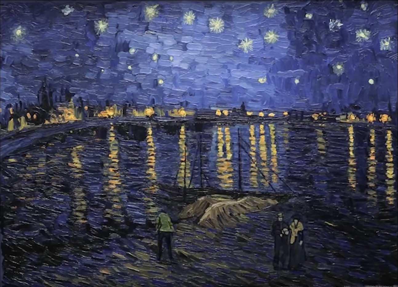 梵谷,《隆河的星空夜晚》,1888。