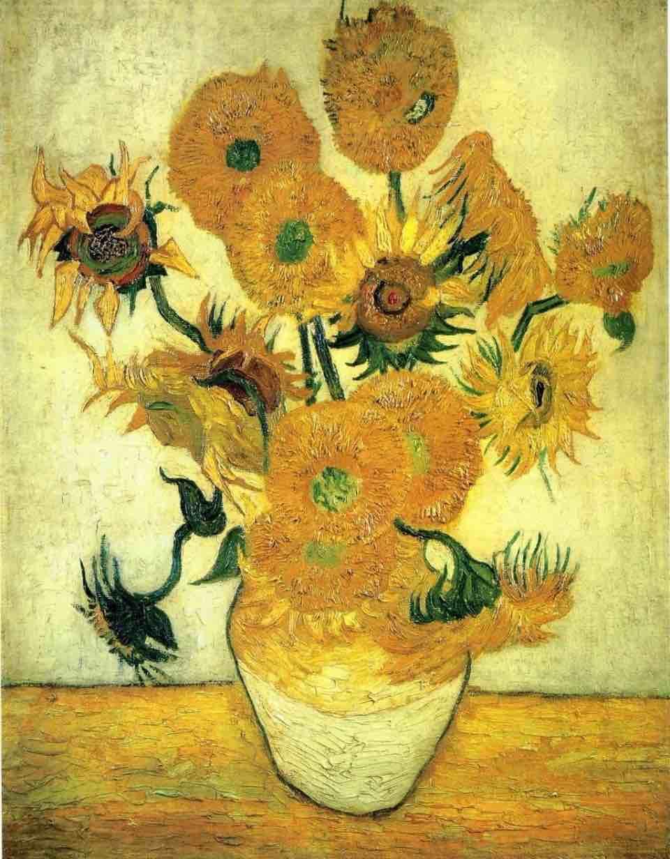 梵谷,《靜物:15朵向日葵的花瓶》,1888。