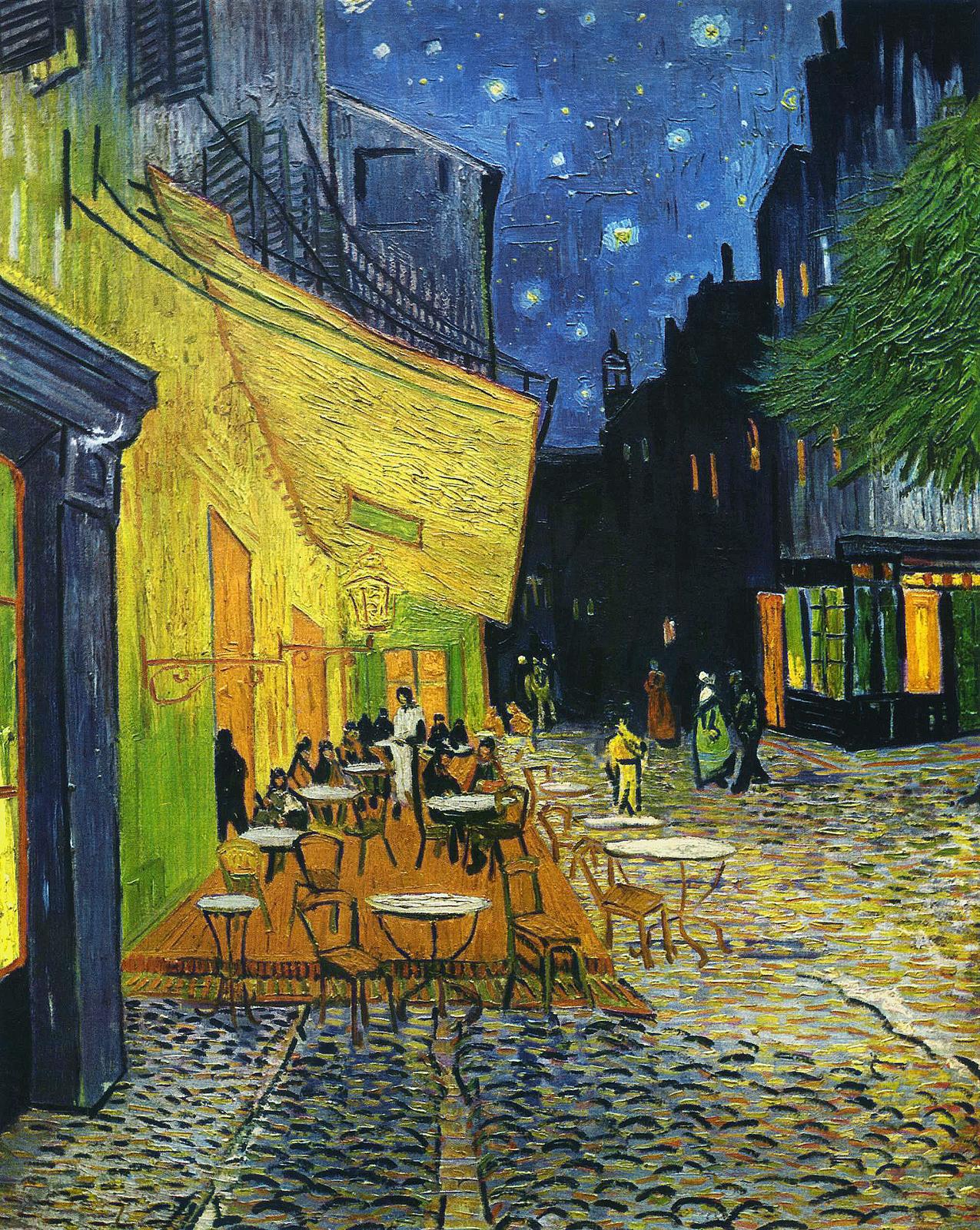 梵谷,《阿爾勒論壇廣場的夜晚露天咖啡座》,1888。